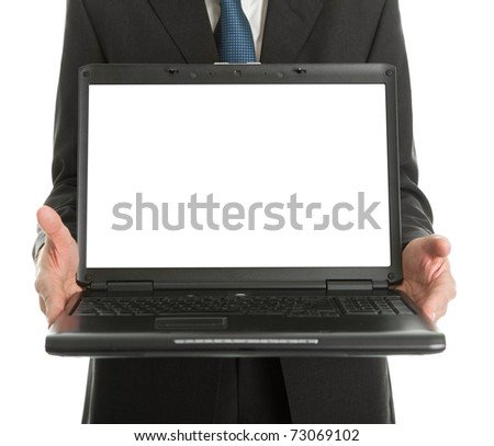 Close-up of business man presenting laptopn - stock photo