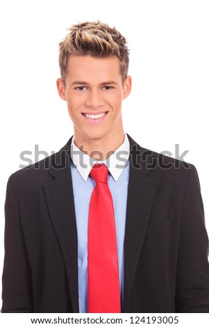 Close up of business man smiling on white - stock photo