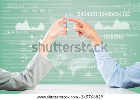 Close up of business people hands using mobile phone - stock photo