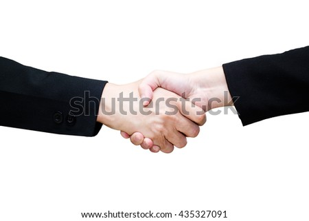Close-up of business people handshaking on isolate white background /teamwork - stock photo