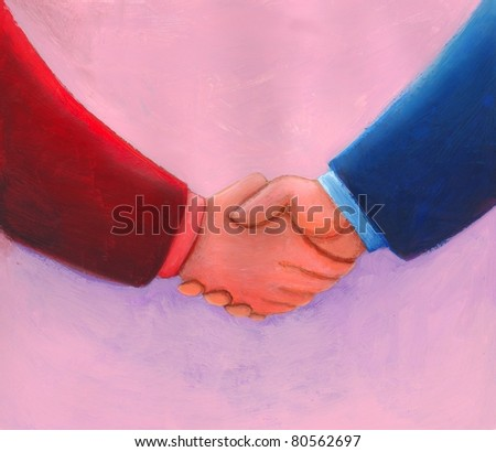 Close up of business people in colorful suits shaking hands - stock photo