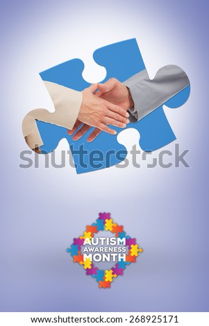 Close up of business people shaking their hands against purple vignette - stock photo
