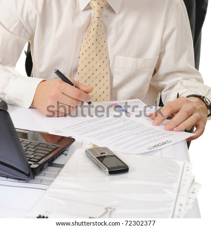 Close-up of business person hands working with document - stock photo