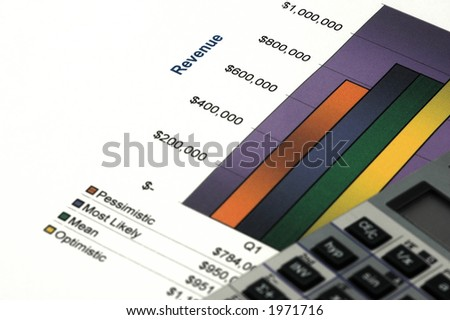 Close up of Business Report with Pen and Calulator - stock photo