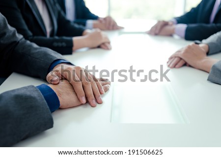 Close-up of business talks - stock photo