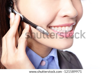 Close-up of business woman lips with microphone isolated on white background, asian female model - stock photo