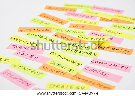 Close up of business words collage made with multicolored stick notes on a white paper,selective focus