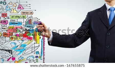 Close up of businessman drawing business strategy sketch - stock photo