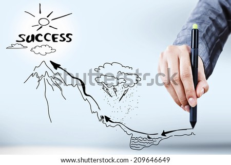 Close up of businessman hand drawing business sketches - stock photo