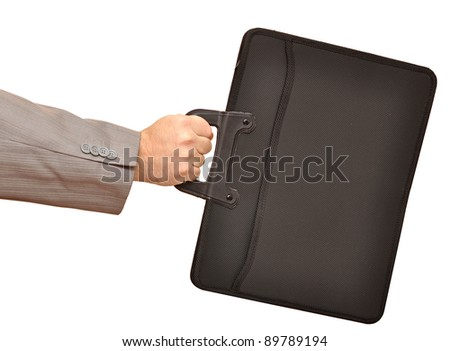 Close-up of businessman hand holding with briefcase - stock photo
