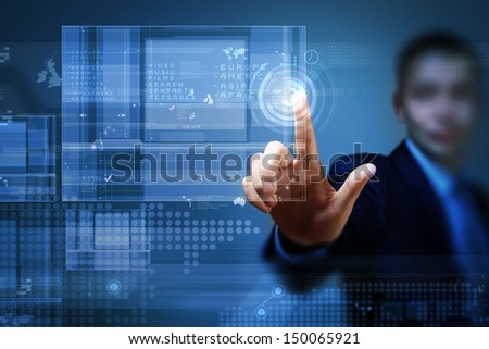 Close up of businessman hand pushing icon on media screen - stock photo