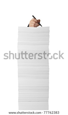 close up of businessman hand writing on stack of papers on white background - stock photo