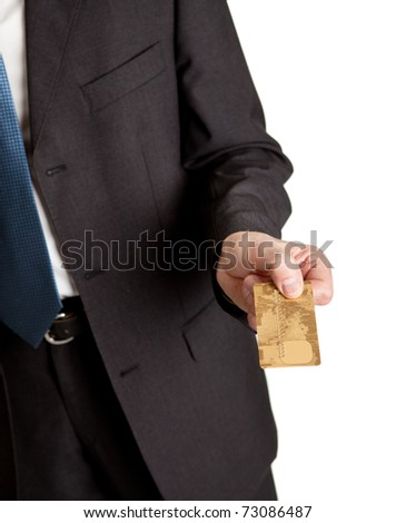 Close-up of businessman holding credit card