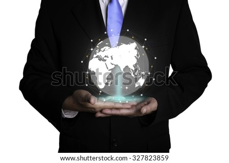Close up of businessman holding digital globe in palm isolated on white background
