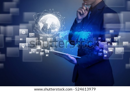 Close up of businessman holding global connection