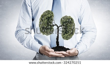 Close up of businessman holding in hands green tree concept - stock photo