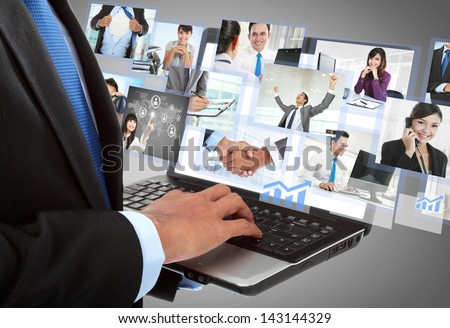 close up of businessman's hand working with laptop in the office. conceptual image - stock photo