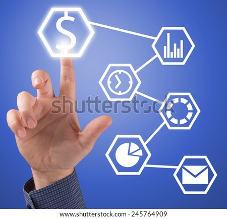 Close up of businessman touching application icon on screen