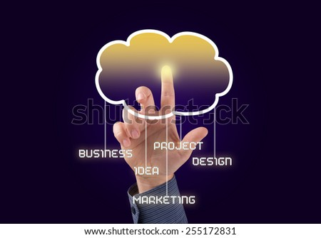 Close up of businessman touching cloud icon with finger - stock photo