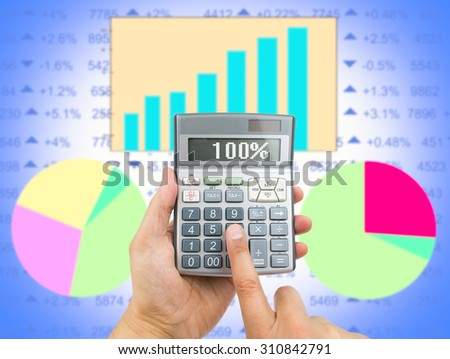 close up of businessman using the calculator to know the result of earnings. All screen content is designed by my and not copyrighted by others and created with digitizing tablet and image editor - stock photo