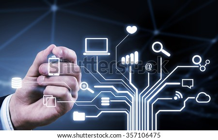 Close up of businessperson drawing on screen cloud computing concept - stock photo