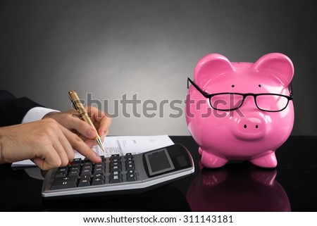 Close-up Of Businessperson With Piggybank Calculating Tax At Desk - stock photo