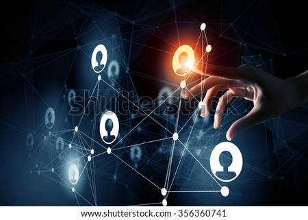 Close up of businesswoman touching with finger network concept on screen - stock photo