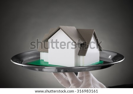 Close-up Of Butler With House Model On Stainless Steel Tray - stock photo