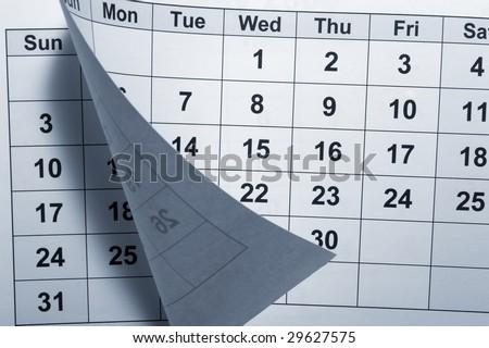 close up of calendar - stock photo