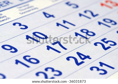 Close-up of calendar
