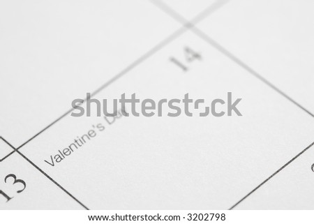 Close up of calendar displaying Valentines Day.