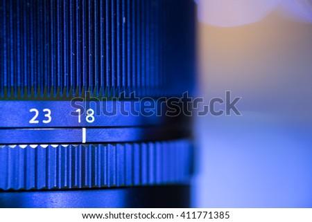 Close up of camera lens diameter. focus ring.  - stock photo