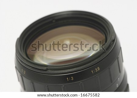 Close up of camera lens with isolated white background - stock photo