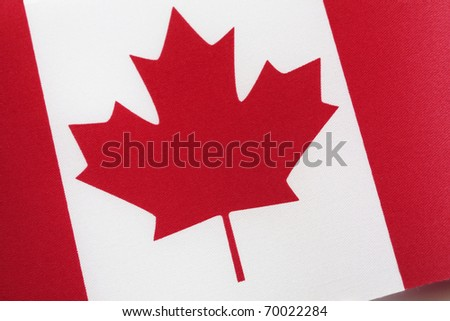 Close up of Canadian Flag of Tilted Angle - stock photo