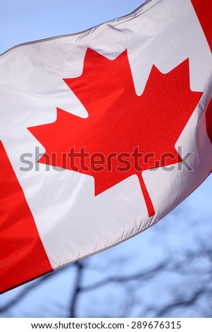 Close up of canadian flag waving against the sky - stock photo