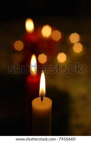 Close-up of candle lights creating a fine Christmas mood