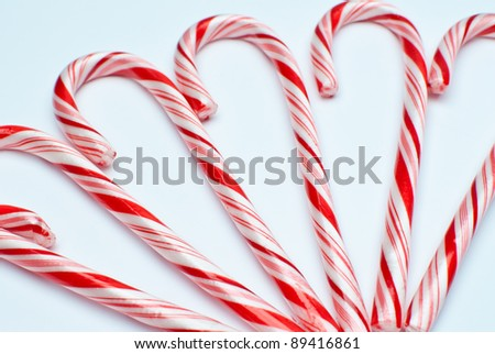 close up of candy canes , soft focus - stock photo