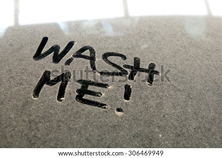 Car Dust Inscription Wash Me Word Stock Photo 304406060 Shutterstock
