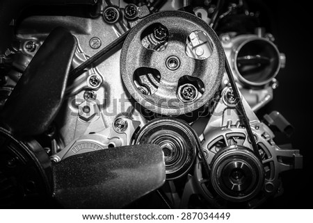 close up of car engine - stock photo