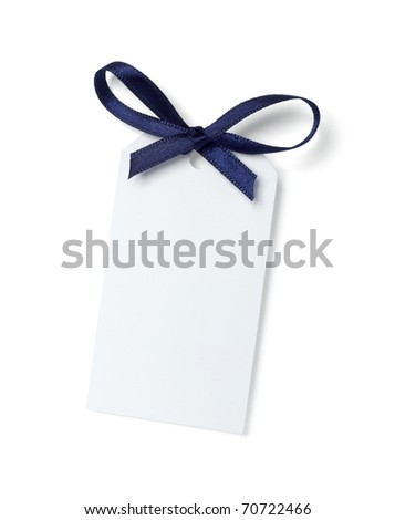 close up of  card note with blue ribbon on white background  with clipping path - stock photo