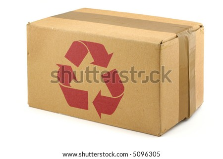 close-up of cardboard box with recyclable symbol against white background - stock photo