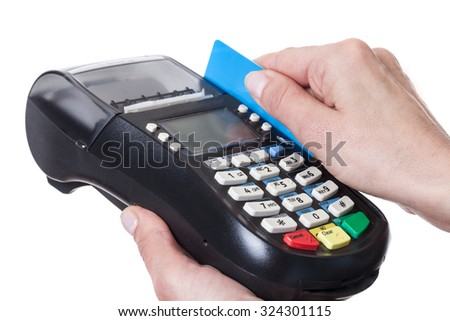 Close-up of cards servicing with POS-terminal, isolated on white background. Studio short. - stock photo