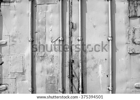 Close up of cargo ship container user of background and texture, in black and white tone - stock photo