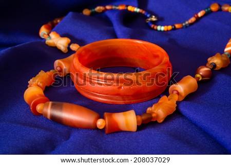 Close up of carnelian semi gem  necklace jewelry - stock photo