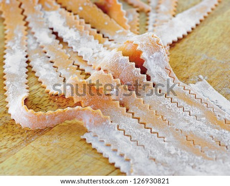 Close up of carrot flavored fresh pasta