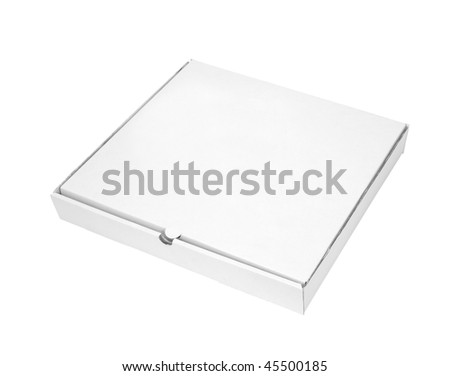 close up of carton  box  for pizza on white background with clipping path - stock photo