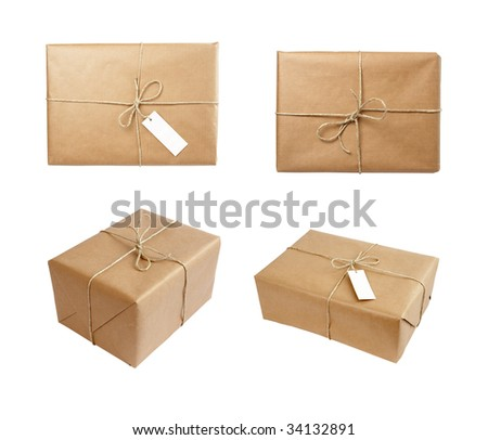 close up of carton  box  post package on white background. each one is in cameras full resolution
