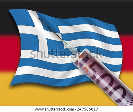 Close up of cash injection on greek flag against german flag - stock photo
