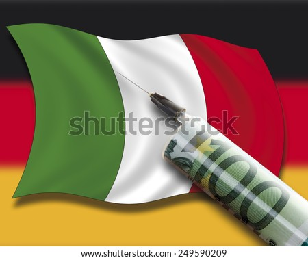 Close up of cash injection on italian flag against german flag - stock photo