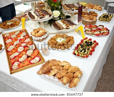 close up of catering food on table - stock photo